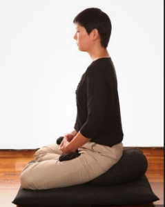 Meditation posture on mat